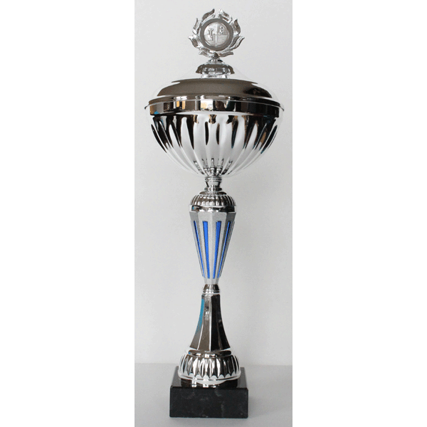 Beker zilver/blauw met deksel 40,5 cm