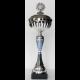 Beker zilver/blauw met deksel 42 cm