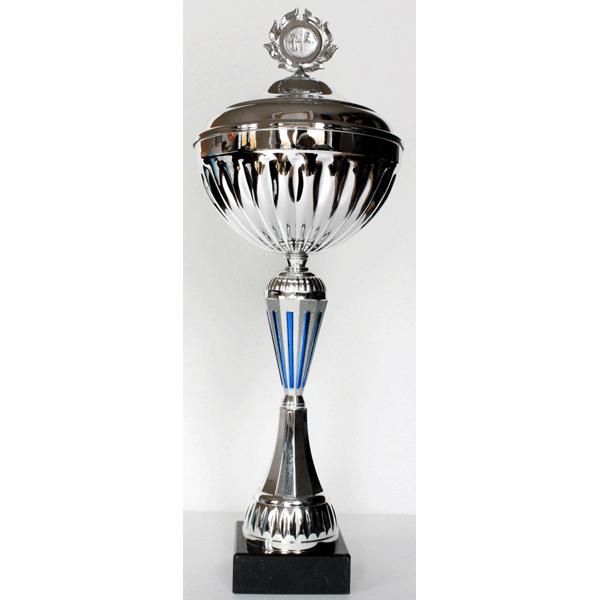 Beker zilver/blauw met deksel 44 cm