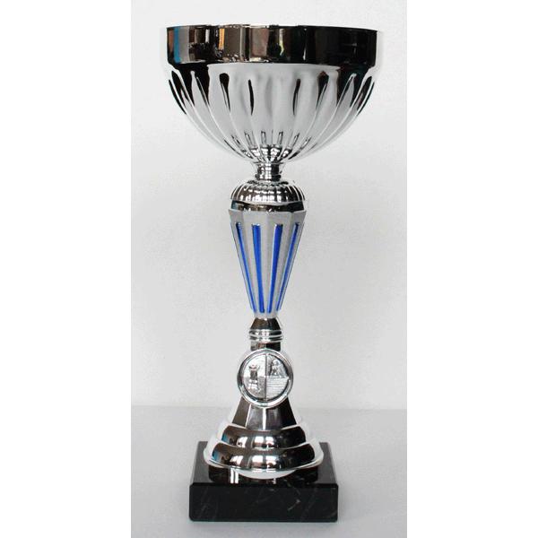 Beker zilver/blauw met schaal 26 cm