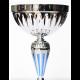 Beker zilver/blauw met schaal 28 cm