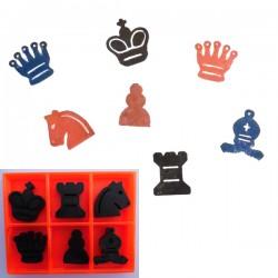 Stempeltjes schaakstukken, complete set met inktkussen