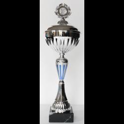 Beker zilver/blauw met deksel 36,5 cm