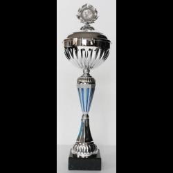 Beker zilver/blauw met deksel 37,5 cm